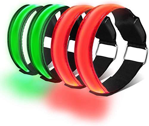 HEAWAA 4 Stück LED Reflective Armband Leucht Armbänder Wasserdicht Leuchtband Nacht Sicherheits...