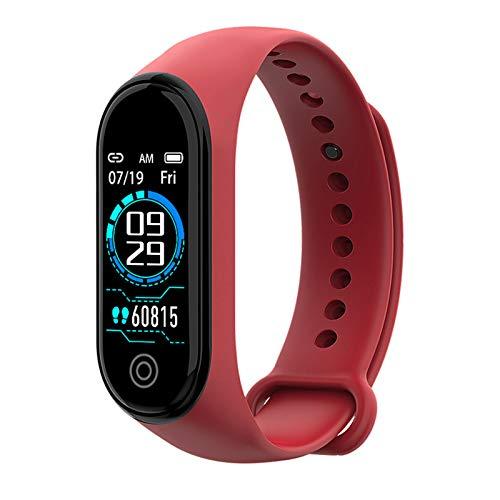YGQNH Braccialetto Sportivo Bluetooth, Sport Impermeabile per Apple Android Smart Watch Cardiofrequenzimetro Funzioni di Pressione Sanguigna per Uomo Donna Bambini, Facile da Usare(Color:Rosso)