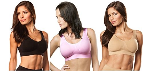 Genie Bra (3 Pack Womens Seamless, Wireless Bra, As Seen On TV, with Removable Pads for Extra Lift (Black/Barely Pink/Nude, Medium)