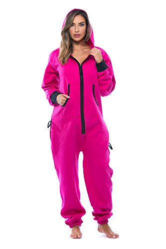 #followme 6438-FUS-S Adult Onesie Pajamas Jumpsuit Fuchsia/Black