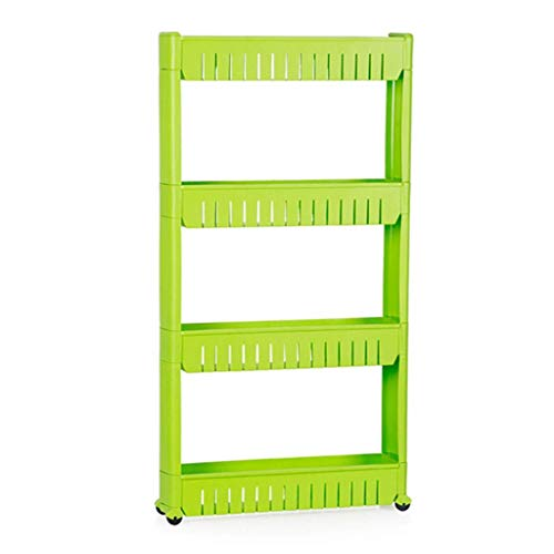 GAXQFEI Foyer Rack 4 Tier Mobile Shelving Unit Organizer,Storage Rack Shelf with Wheels for Bedroom Laundry Room Narrow Places Kitchen Cart for Storage,Green,54 * 13 * 104Cm