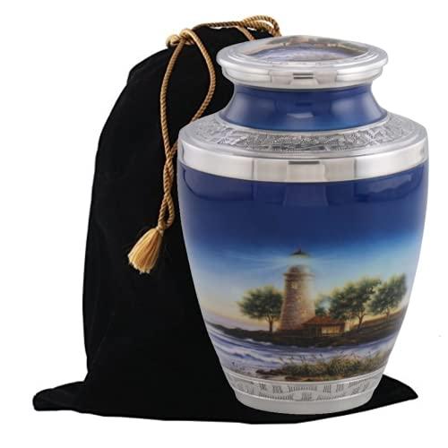 Lighthouse Cremation Urn, Handcrafted Metal Urn for Human Ashes, Adult Cremation Urn with Velvet Bag