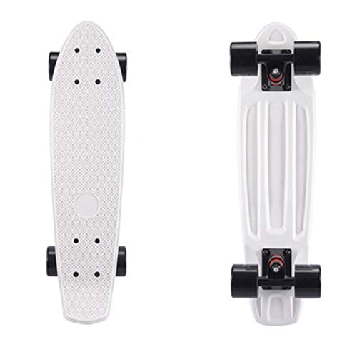 JCF-YJDI Lcya-huaban Complete Highly Flexible Plastic Cruiser Board Mini 22 Inch Skateboards for Beginners or Professional with High Rebound PU Wheels (Color : White)