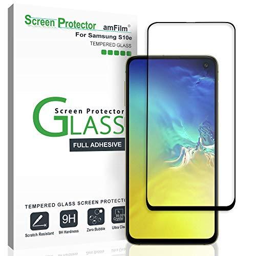 amFilm Panzerglas Schutzfolie für Galaxy S10e (2019), Vollständige Abdeckung (Schutz Hüllenfreundliche) Glas Displayschutzfolie für Samsung Galaxy S10e (Schwarz)