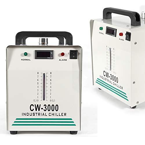 HaroldDol Wasserkühler 9L Industrieller Wasserkühler 50W/℃ 10L/min CW-3000 Chiller Graviermaschinen Thermolyse