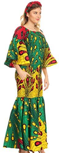 Sakkas 2262 - Zarah Women's African Ankara Body-con Off Shoulder Mermaid Pocket Dress - 2261-51-Multi - rll