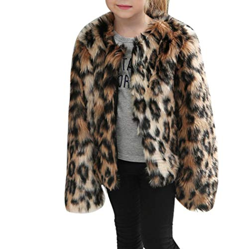 Moonker Girls Coat 3-8 Years Old,Toddler Girls Kids Autumn Winter Warm Clothes Faux Fur Leopard Thick Jacket Outwear (7-8 Years Old, Brown)
