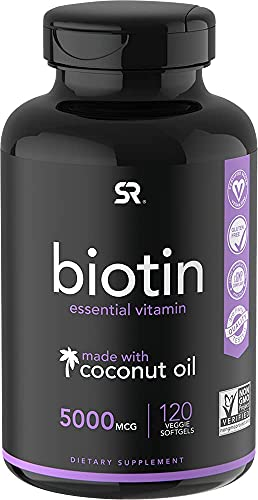 Biotin (5,000mcg) with Coconut Oil | Supports Healthy Hair, Skin & Nails in Biotin deficient Individuals | Non-GMO Verified & Vegan Certified (120 Veggie-Softgels)