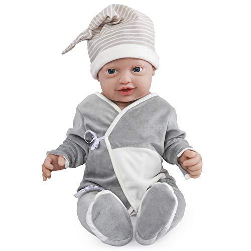 Vollence Poupée Reborn bébé réaliste 58 cm,sans PVC, Silicone Platine, Corps Complet Aspect réel d'un véritable Enfant, Réaliste, Doux fabriqué à la Main avec vêtements - Garçon