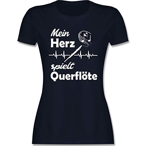 Instrumente - Mein Herz spielt Querflöte Herzschlag - L - Navy Blau - querflöte t Shirt Mein Herz - L191 - Tailliertes Tshirt für Damen und Frauen T-Shirt