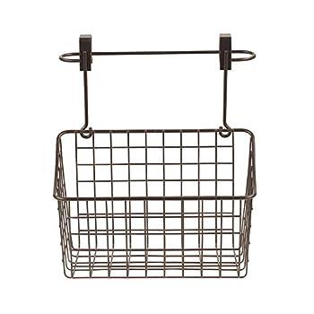 Spectrum Diversified Duo Towel Bar & Medium Basket No Installation 2-in-1 Cabinet Basket & Towel Bar Under Sink Rustic Farmhouse Storage & Organization Medium Bronze