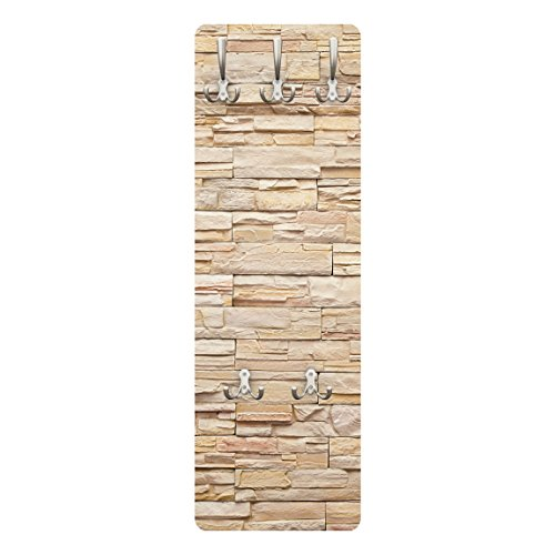 Garderobe - Top 8 Garderoben, Größe HxB: 139cm x 46cm, Motiv: Asian Stonewall - Große helle Steinmauer