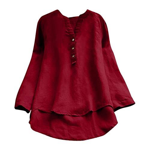 QIMANZI Übergröße Damen Lange Ärmel Kaftan Ausgebeult Taste Bettwäsche aus BaumwolleTunika Bluse(ZX Rot,M)