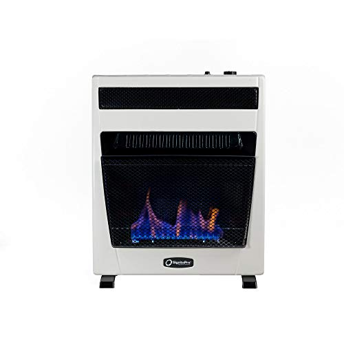 Signitepro indoor 700 sq ft 20000 btu vent free blue flame natural gas heater with thermostat control, push ignition, floor mount and wall mount kit