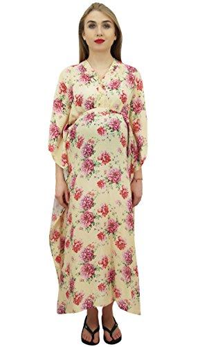 Bimba Moms Creme Bedruckt Kimono Aermel Kaftan mit Guertel Mutterschaft Dress-58