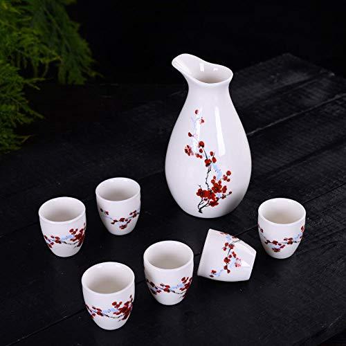 Ksnrang Juego de té, Taza de té, Juego de Vino de 7 Cabezas, dispensador de Vino de cerámica, Jarra Caliente, Jarra de Licor japonés, Copa de Vino, Logotipo Personalizado-Flor de Ciruelo