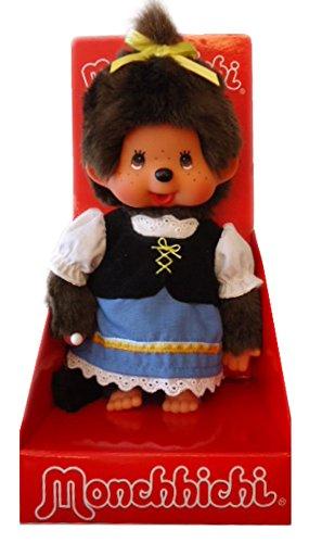 Sekiguchi 242047 - Original Monchhichi Bayrisches Mädchen, aus braunem Plüsch, mit Kleid und Zopf mit Schleife, ca. 20 cm