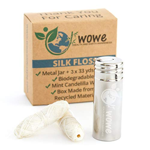 Wowe Natural Biodegradable Peace Silk Dental Floss with Mint Flavored Wax, Refillable Stainless Steel Container and 3 Refills - 99 Yards Total
