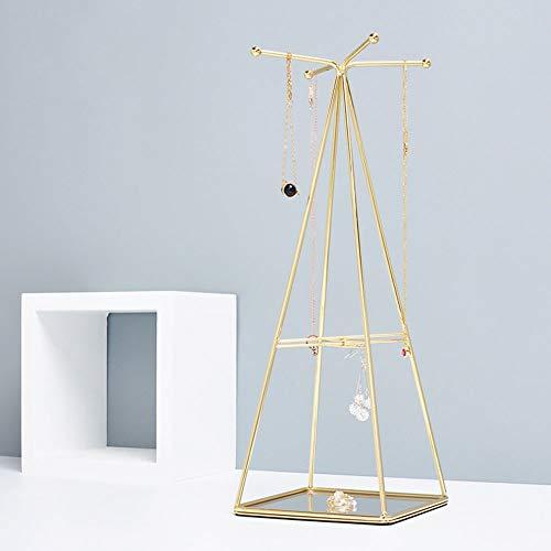 LouisaYork Soporte de joyería, soporte de metal para joyas, pendientes, collares, organizador, torre de Navidad, regalo de cumpleaños para niñas y mujeres 36x13.5x13.5cm Bandeja-dorado