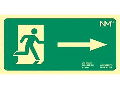 Normaluz RD11130 Señal Luminiscente Salida Derecha 32x16cm Clase B PVC 0,7mm Evacuación Homologada De Alta Calidad, Verde