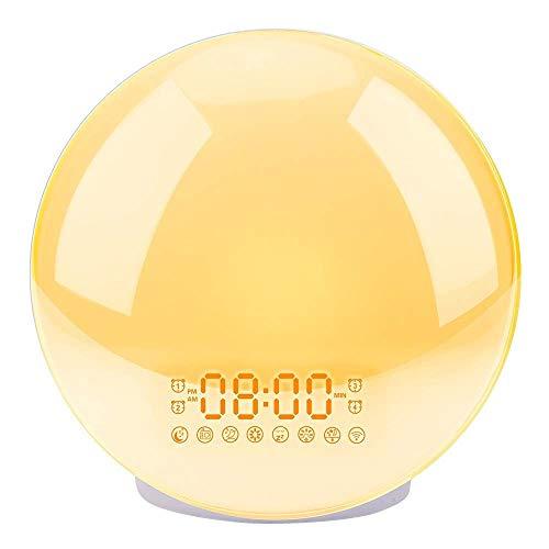 Mingyangwl AlarmKlok Zonsopgang Wekker Nachtlamp Digitale Klok Met Snooze Feature Natuur Geluiden FM Radio Slaap Aid 7 Kleuren Licht
