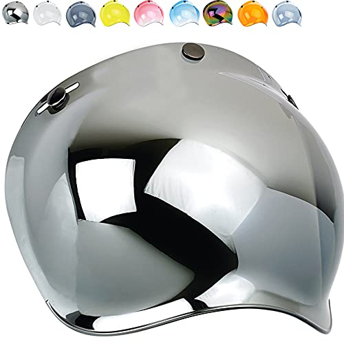 Visera Burbuja Para Casco Jet o Integral 3 Botones Bubble Universal Mecanismo Ajustable en 3 Alturas a Prueba De Viento Para Harley Biltwell Bell DMD Bandit Yam AFX Nolan Agv ( Espejo Plateado )