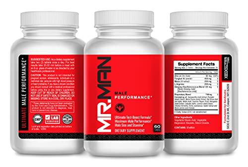 Mr Man Male Enlargement Pills- Size Enhancing Supplement for Men- Add Over 3 in 90 Days- 60 Tablets