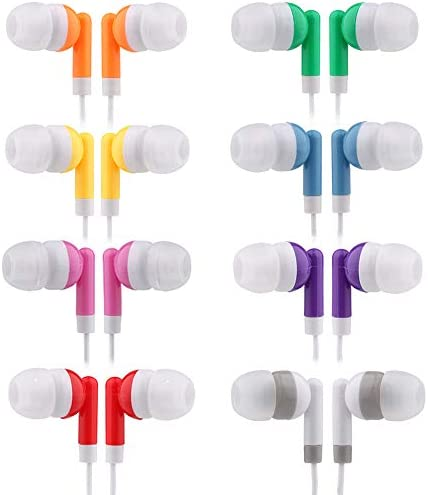 CN Outlet Kids Bulk Earbud Headphones 50 Pack Multi Colored Individually Bagged Wholesale Disposable product image