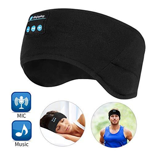 WU-Minglu Bluetooth hoofdband, slaaphoofdtelefoon, draadloos, muziek-sport-hoofdband, headset, slaaphoofdtelefoon voor heren, vrouwen met dunne en coole stof en verstelbare hoofdtelefoon voor hardlopen, yoga, zwart