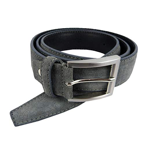 SH Leder ® Italienischer Wildleder gürtel Herren Damen Unisex Suede Belt 3,50cm Breit SHG526/35 (95, Dunkel Grau)