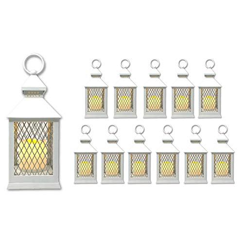 "Farm House Lanterns {12 Pc Set} 10"" Decorative Lanterns with Flameless LED Lighted Candle, 5HR Timer, Weather Resistant - Decorative Outdoor Lanterns (White)"