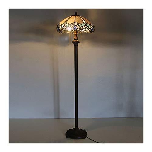 Lámpara de pie estilo tiffany de 16 pulgadas, lámpara de cristal de manchas retro, luz del piso para la sala de estar de la sala de estar de la sala de estar.
