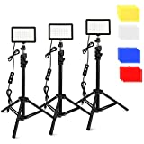 3 Packs 70 LED Video Light with Adjustable Tripod Stand/Color Filters, Obeamiu 5600K USB Studio...