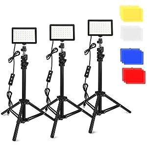 3 Paquetes 70 Video LED Luces con Soporte de Trípode Ajustable/Filtros de Color, Obeamiu 5600K USB Estudio Tablero Iluminación LED Colorida,Retrato Producto Fotografía Video Youtube (Negro)