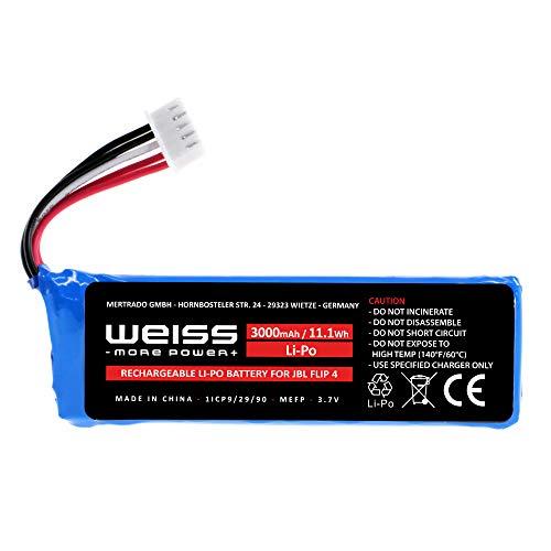 Akku für JBL Flip 4, JBL Flip 4 Special Edition Bluetooth Box, 3000mAh, 3.7V Lithium-Polymer Ersatzakku für JBL tragbarer Lautsprecher komp. mit GSP872693 01, aufladbare Batterie von Weiss More Power