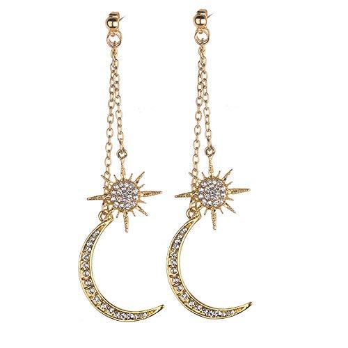 UINGKID Ohrstecker Mode Einfache Stilvolle 1 Paar Clear Crystal Strass Mond Stern baumeln Drop Link Manschette Ohrstecker