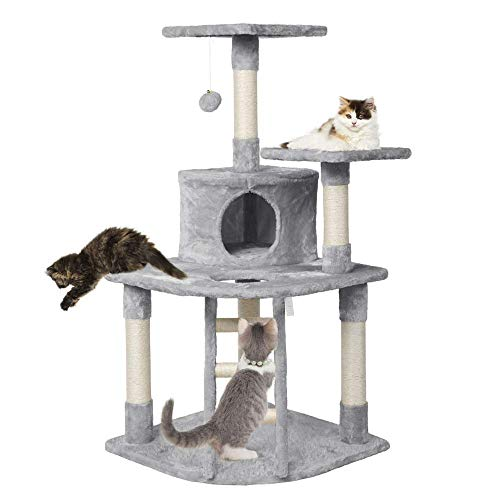 47.5'' H Multi Level Cat Tree Condo with Scratching Post & Lounger & Ladder & Fur Ball Cat...
