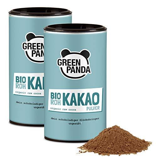 Bio Rohkakao aus Premium Kakaobohnen gemahlen, Kakaopulver ohne Zucker und stark entölt, 28 g Protein, laborgeprüft und zertifiziert, 2 x 125g von Green Panda