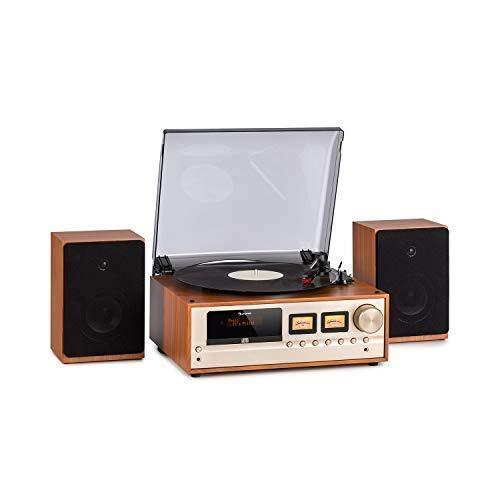 auna Oxford Retro-Stereoanlage - DAB+, FM Radiotuner, 2 Lautsprecher mit 20 W max. Bluetooth, Plattenspieler, Riemenantrieb mit 33, 45, 3 Geschwindigkeiten, MP3-fähigen CD-Player, AUX-In, Champagner