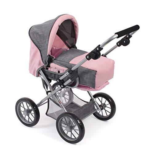 Bayer Chic 2000 560 15 Kombi-Puppenwagen Leni, Melange grau-rosa