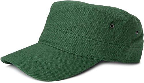 styleBREAKER Cap im Military-Stil aus robustem Baumwollcanvas (Dunkelgrün)