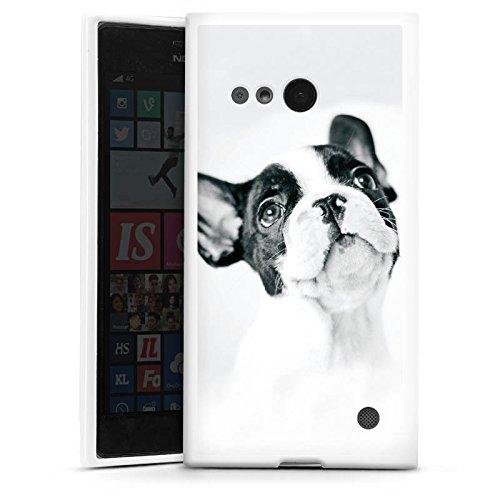 DeinDesign Silikon Hülle kompatibel mit Nokia Lumia 730 Hülle weiß Handyhülle H& Bulldogge Welpe