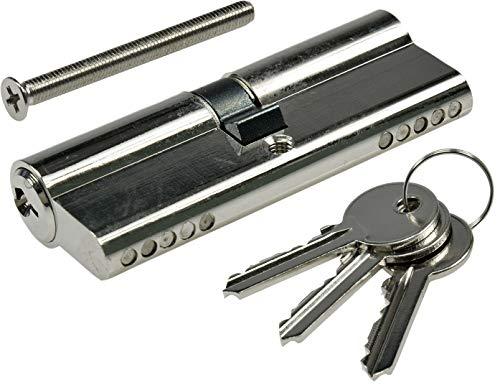 ChiliTec Schließzylinder für DIN Einsteck-Schlösser erhöhte Sicherheit (Zylinder + 3 Bartschlüssel, 80mm (40+40mm))