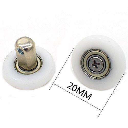 Lot de 8 roulettes pour porte de douche 19 mm