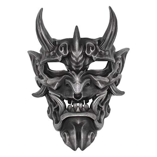 AmaMary Japanische Prajna Maske, Harz japanische Prajna Halloween Maske Kleidung Sammlung Wandbehang Maske (Silber)