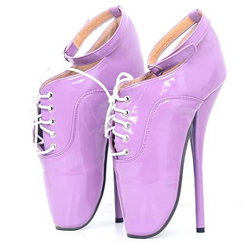 COSY-L Sexy Ballettschuhe Spitzenschuhe für Frauen, SM Domina 18 cm Hochhackige Schuhe für Party, für Transsexuelle, Männlich, Weiblich, Nachtclub, Pole Dance, Lila,41EU