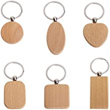 Chris.W Wooden Key Tags with Split Ring Key Chain, 6Pcs Round Square Heart Shap Anti-Lost Engrave Tags Wood Accessories DIY Gifts
