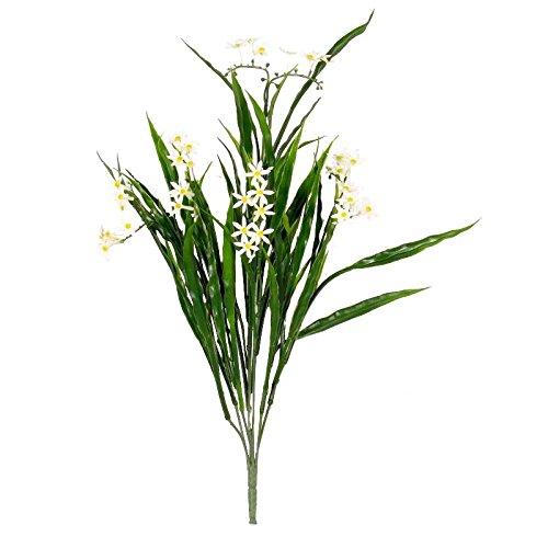 Narcissus – buisson artificiel avec fleurs blanches – adapté usage extérieur – Haut 43 cm environ