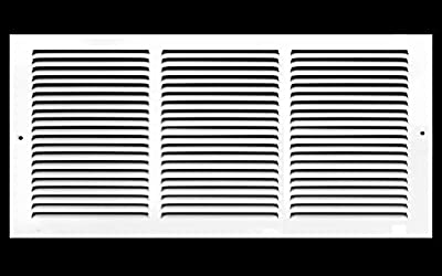 """14""""w X 4""""h Steel Return Air Grilles - Sidewall and Ceiling - HVAC Duct Cover - White [Outer Dimensions: 15.75""""w X 5.75""""h]"""
