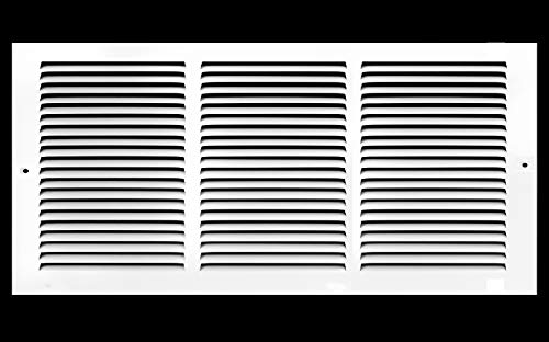 14'w X 6'h Steel Return Air Grilles - Sidewall and Ceiling - HVAC Duct Cover - White [Outer Dimensions: 15.75'w X 7.75'h]